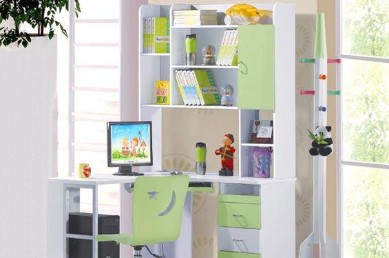 儿童卧室书架效果图; 儿童房间转角电脑桌;;